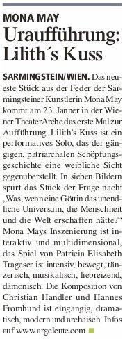 Liliths Kuss - Ankündigung in Tips Perg Woche3 2020